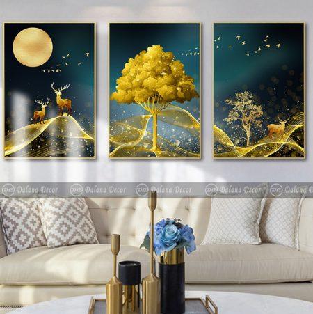 Bộ 3 tranh treo tường hưu nai vàng