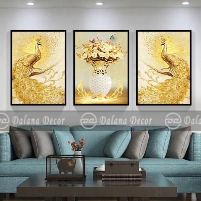 Bộ 3 tranh bình hoa chim công vàng