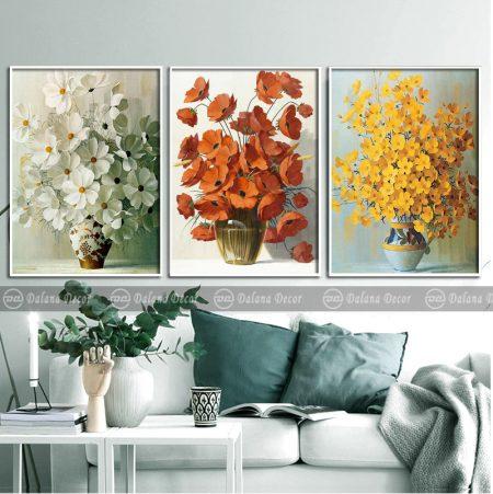 Bộ 3 tranh treo tường chậu hoa vẽ tay
