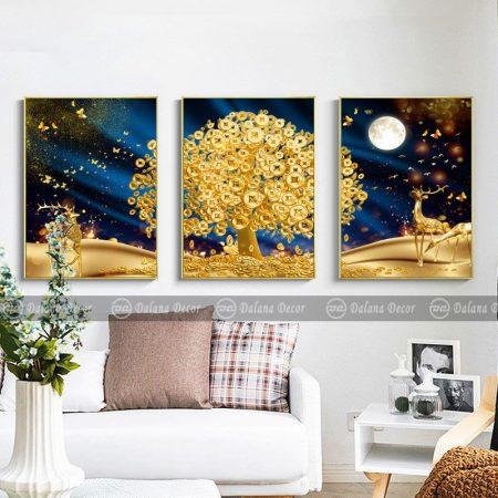 Bộ 3 tranh hưu cây tiền vàng