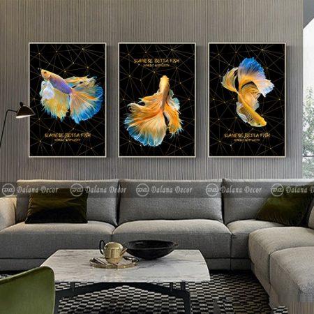 Bộ tranh canvas ba chú cá HG3002