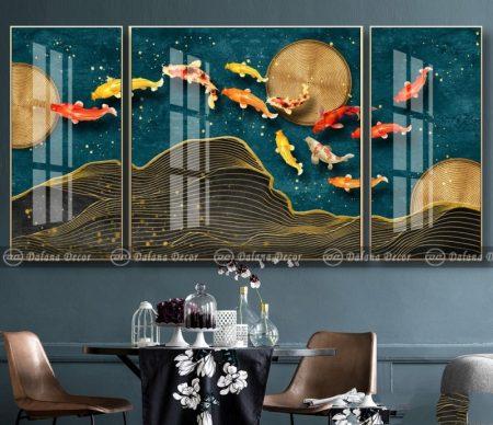 Bộ tranh canvas trừu tượng đàn cá chép HG1048