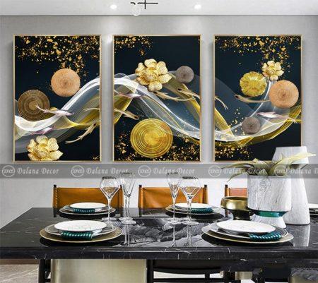 Bộ tranh canvas trừu tượng cá và hoa HG1068