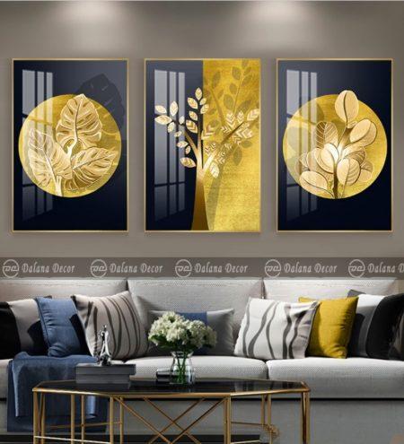 Bộ tranh canvas trừu tượng chiếc lá vàng vẽ tay HG3014