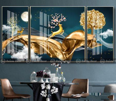 Bộ tranh canvas trừu tượng hưu sừng hoa và dải lụa vàng HG30000