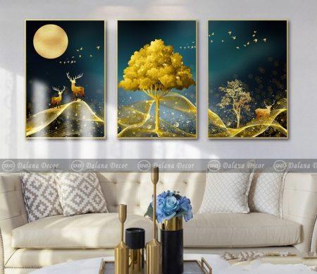 Bộ tranh canvas trừu tượng hưu và cây vàng HG1045