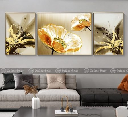 Bộ tranh canvas trừu tượng hoa sơn dầu HG360