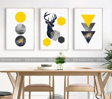 Bộ tranh canvas trừu tượng hình học và hươu nai