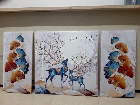 bộ tranh canvas hưu nai tài lộc và lá bạch quả