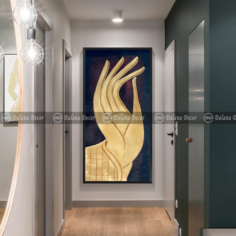 Tranh-bàn-tay-phật-và-hoa-sen---HG330